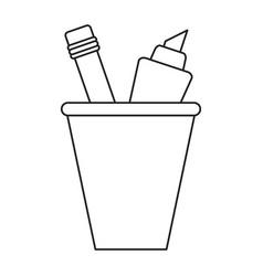 cup pencil school utensil thin line vector image vector image