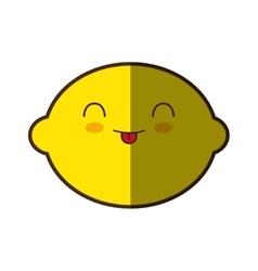 lemon fresh fruit kawaii style isolated icon vector image
