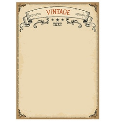 Vintage background on old paper with ornate frame vector image