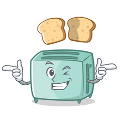 wink toaster character cartoon style vector image vector image