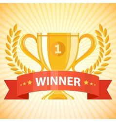 winner cup with ribbon vector image vector image