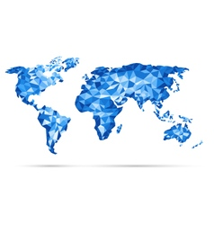 World Map polygonal precision low-poly blu vector image