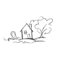 Black and white sketch of village house and tree vector image