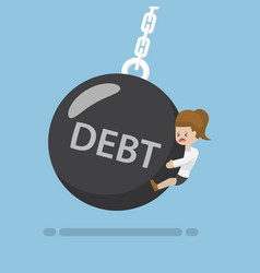 businesswoman is hit by debt wrecking ball vector image