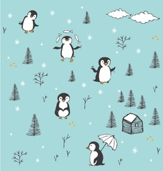 CUTE PATTERN WITH HAND DRAWN PENGUINS vector image vector image