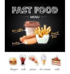 Fastfood advertising on chalkboard vector image