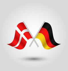 two crossed danish and german flags vector image vector image