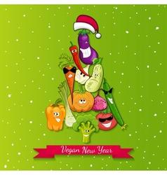vegan new year tree vector image vector image