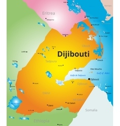 color map of Djibouti vector image vector image
