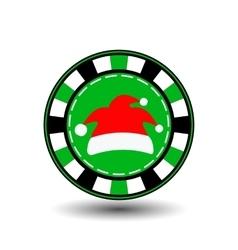 poker chip Christmas new yearCap Santa Claus red vector image