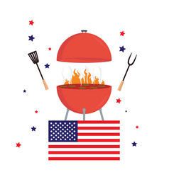 red barbecue concept flat bbq party grill usa vector image vector image