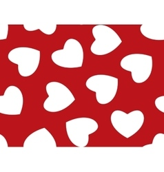 Seamless background of red hearts on white vector image vector image
