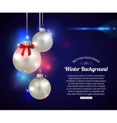 Shining Christmas background with silver balls and vector image