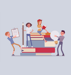 students with giant books vector image
