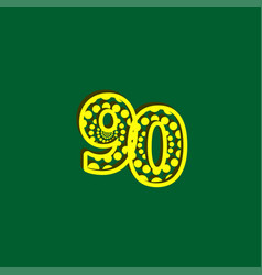 90 anniversary celebration bubble yellow number vector