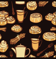 afternoon tea with cinnamon buns bakery spices vector image