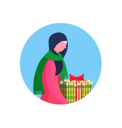 arab woman traditional clothes hold gift box happy vector image