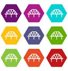 arched train bridge icons set 9 vector image