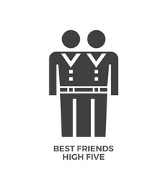 best friends high five glyph icon vector image