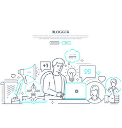 Blogger - modern line design style web banner vector