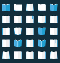 Book icons set - flat open books education vector