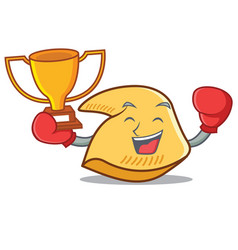 Boxing winner fortune cookie mascot cartoon vector