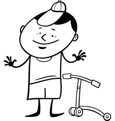 boy with scooter coloring page vector image