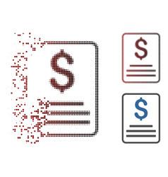 Broken pixel halftone invoice budget icon vector