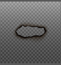 Burnt hole surface with charred border realistic vector