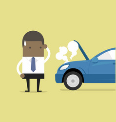 Businessman have a force majeure a car broke down vector