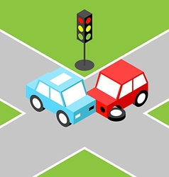 Car accident isometric vector image