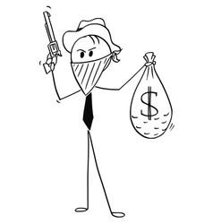 cartoon masked businessman cowboy robber vector image