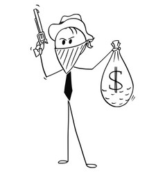Cartoon of masked businessman cowboy robber with vector