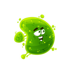 cartoon virus isolated green microorganism germ vector image