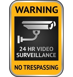 Cctv video surveillance label vector image