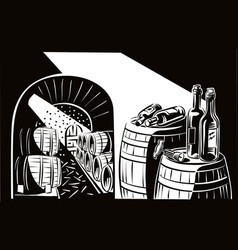 Cellar crammed with the wine barrels vector