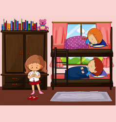children sleeping in bunkbed and one girl getting vector image