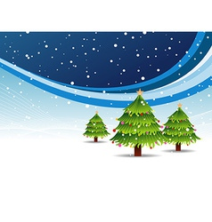Christmas tree in snowy background vector image
