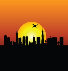 city silhouette with sunshine and plane vector image
