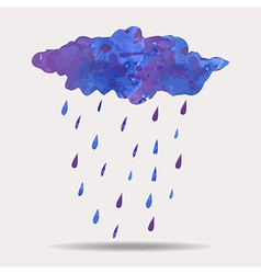 Colorful of watercolor rainy cloud vector