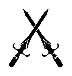 Crossed dagger or short knife for stabbing vector