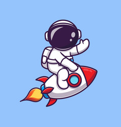 Cute astronaut riding rocket and waving hand vector