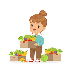 Cute little girl holding basket with vegetables vector