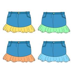 Denim Skirts Set vector