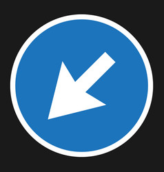 Detour to the left sign right icon vector