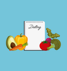 Dieting and vegetables vector
