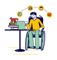 distant online education young man student vector image