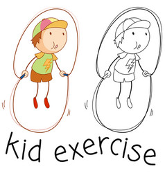 doodle boy skipping rope vector image