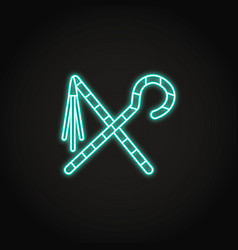 egyptian crook and flail icon in glowing neon vector image