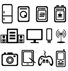 Electric goods household appliance icons set vector